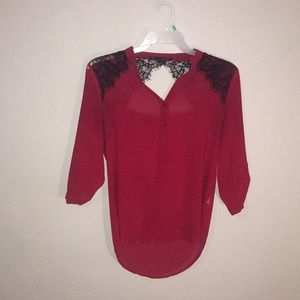 Red Blouse w/ Lace Accents
